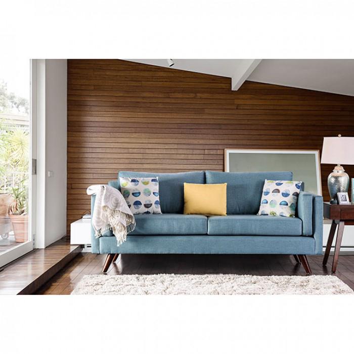 Genna Sky Blue Linen Like Fabric Sofa