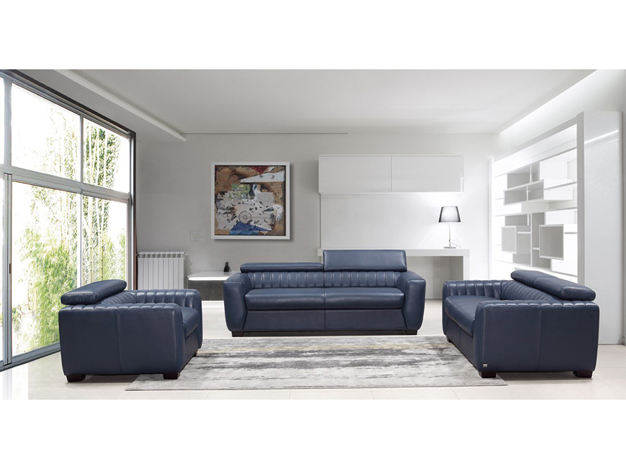 Astonishing Blue Leather Sofa Set Beutiful Home Inspiration Truamahrainfo