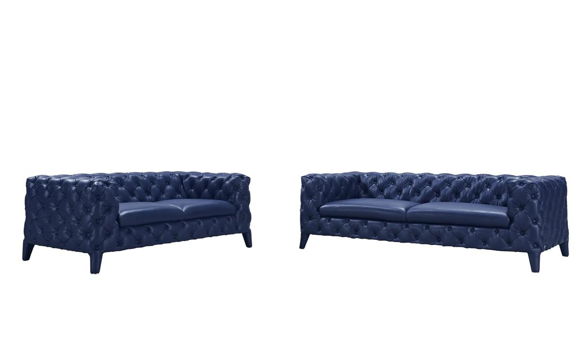 Blue Tufted Leather Sofa Set