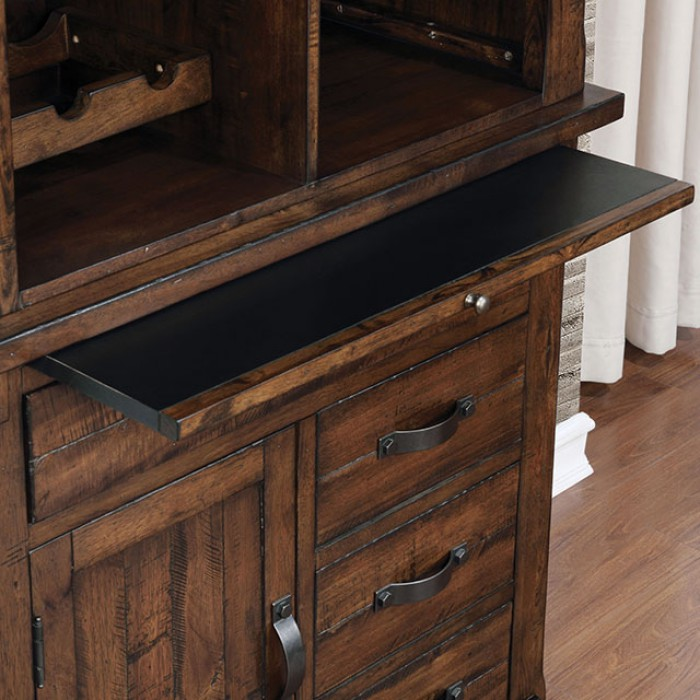 MeaganI Brown Cherry Solid Wood Wine Cabinet