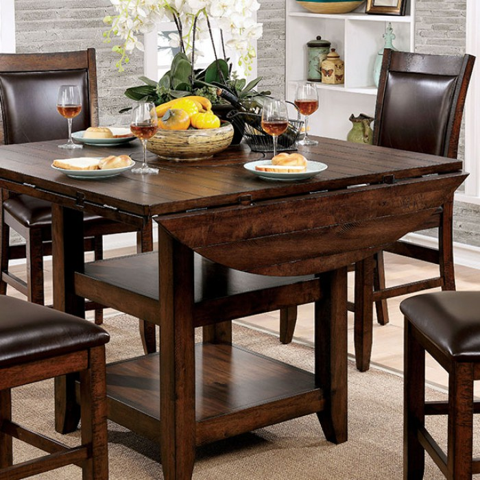 Meagan II Brown Cherry Round Counter Height Dining Set