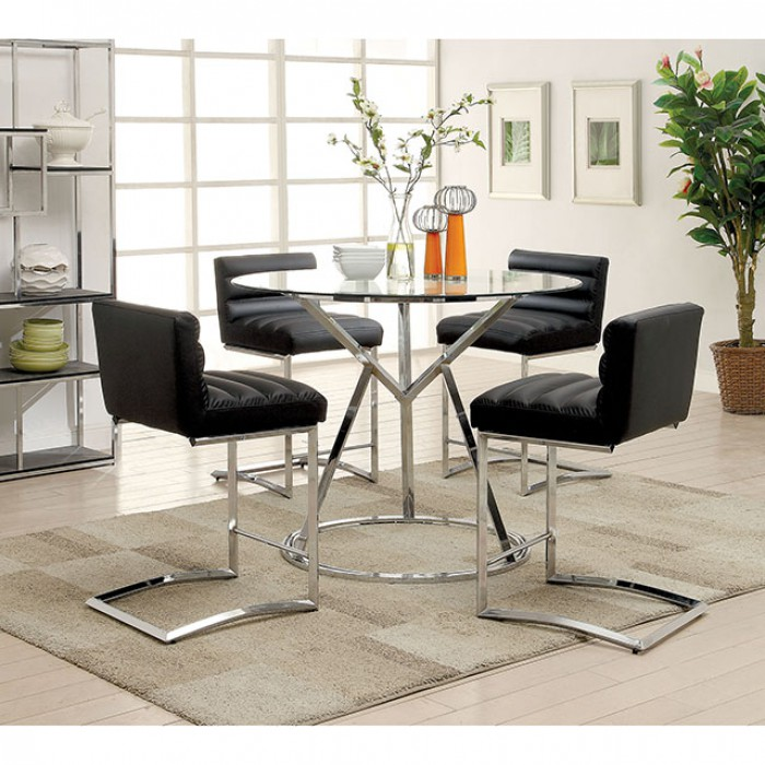 Ordinaire Livada II Chrome Counter Height Dining Set