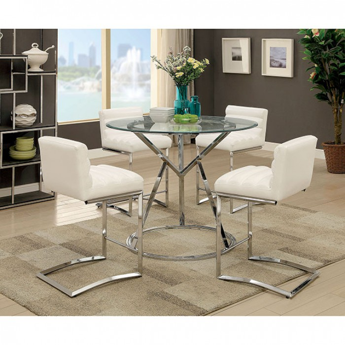Charmant Livada II Chrome Counter Height Dining Set