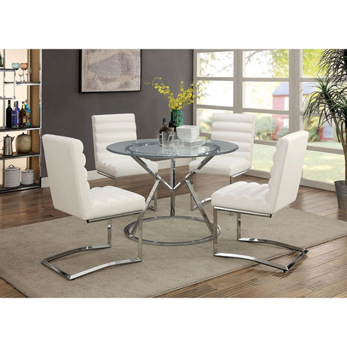 Livada I Round Chrome Dining Set