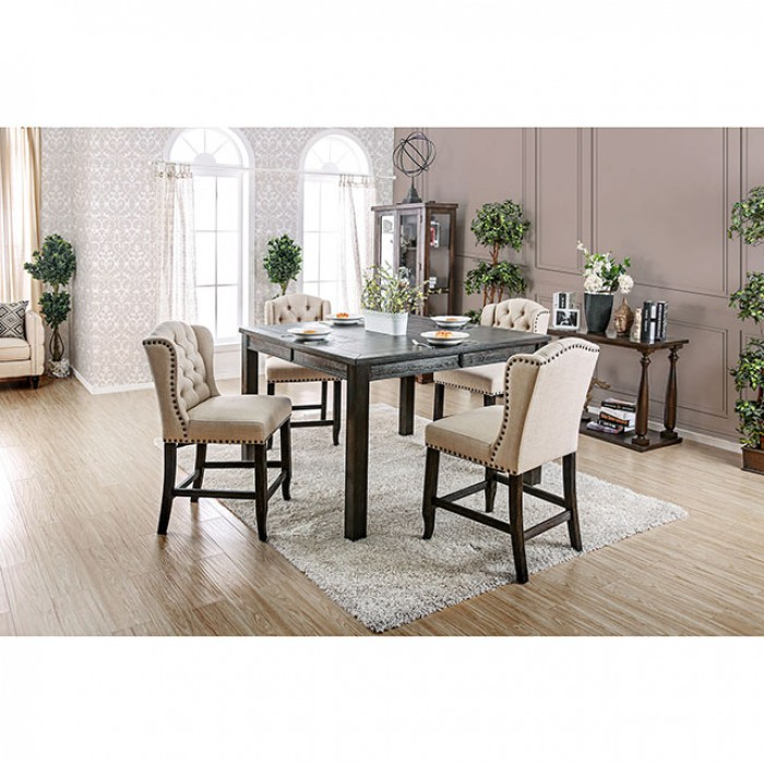 Sania III Antique Black Counter Height Dining Set