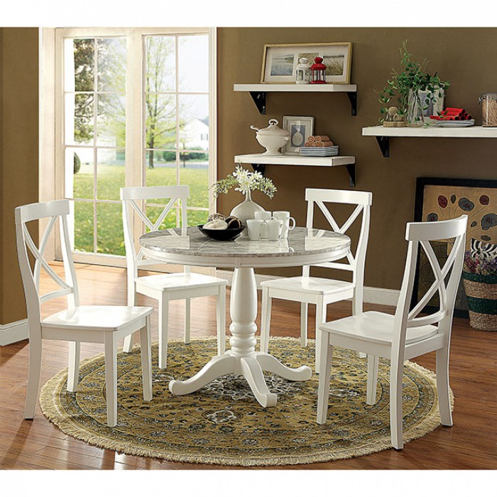 Penelope White Round Dining Set
