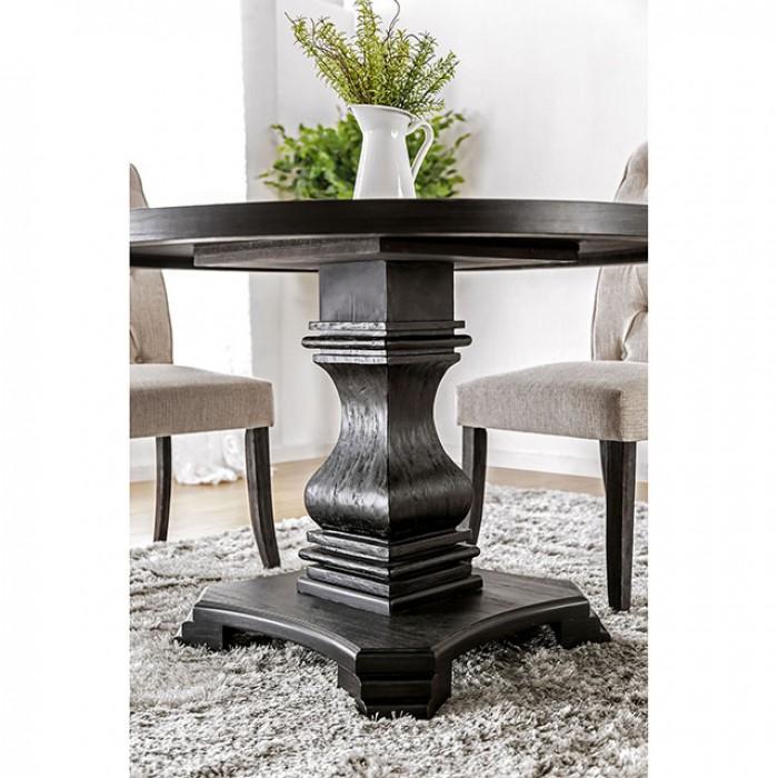 Nerissa Antique Black Round Dining Set