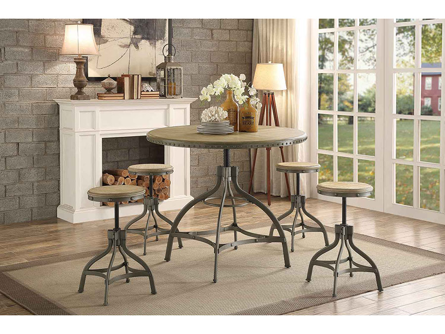 Beacher Industrial Style Metal Adjustable Height Round Dining Table ...