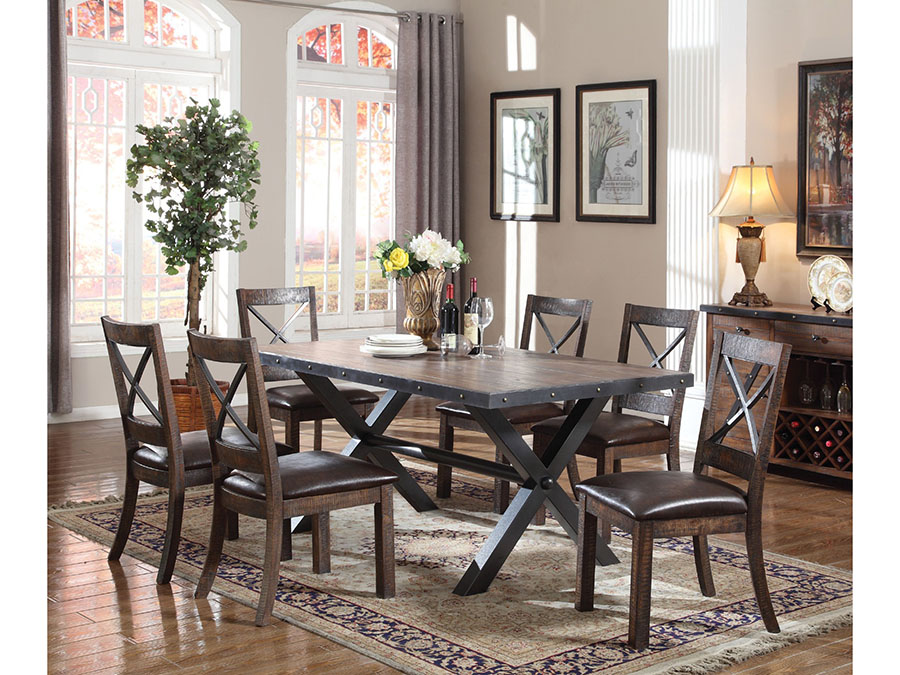 Weathered Cherry Dining Table Set