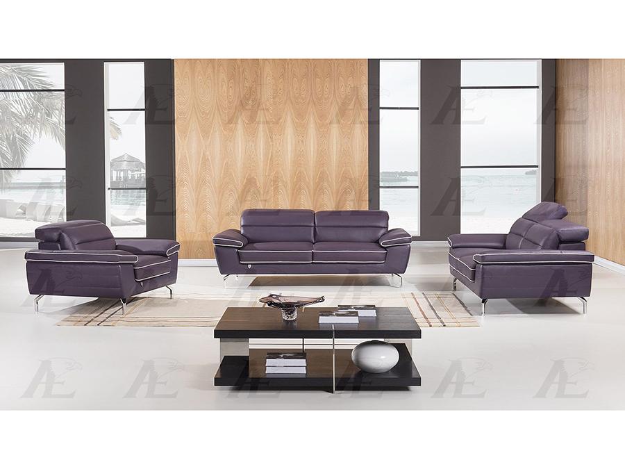 Purple Italian Leather Sofa Set