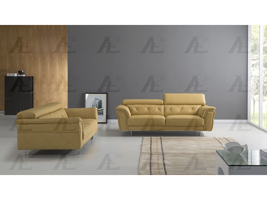 Yellow Italian Leather Sofa Set