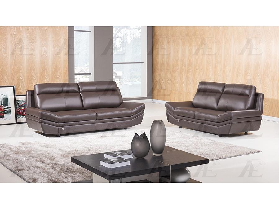Dark Chocolate Italian Leather Sofa Set