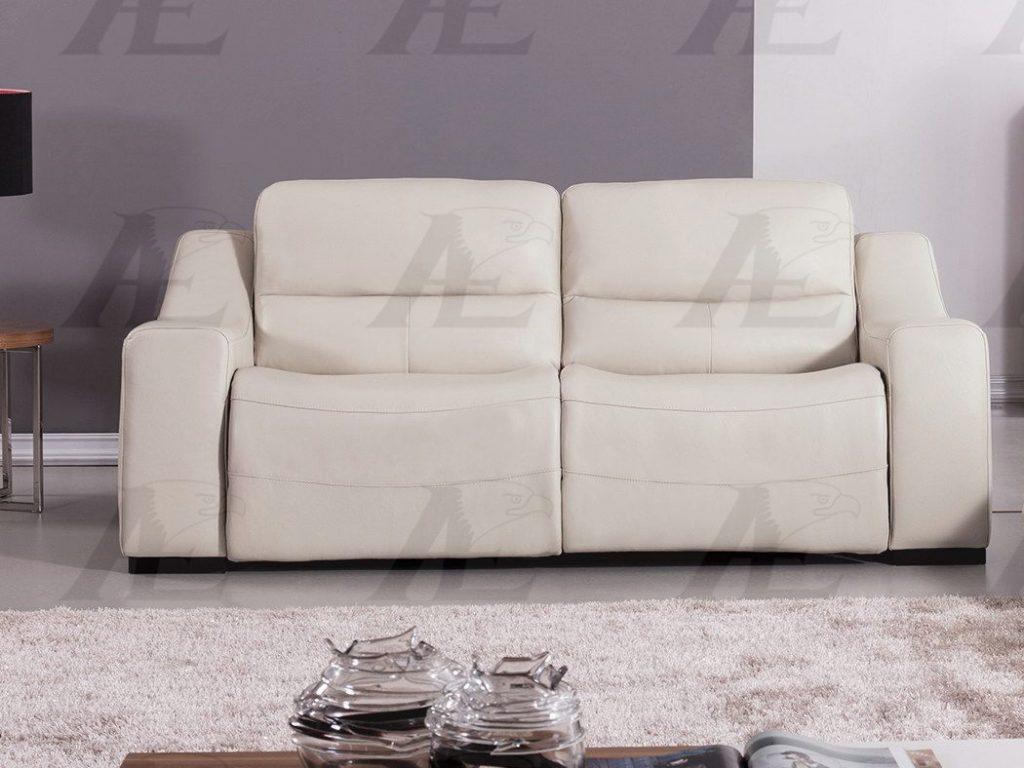 Light Gray Full Italian Leather Recliner Sofa