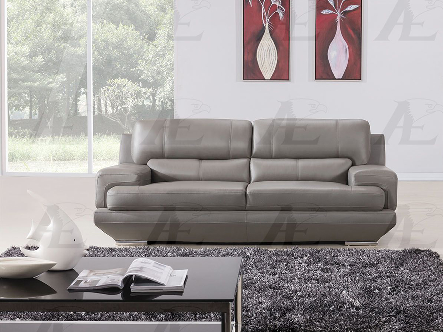Genial Gray Genuine Leather Sofa