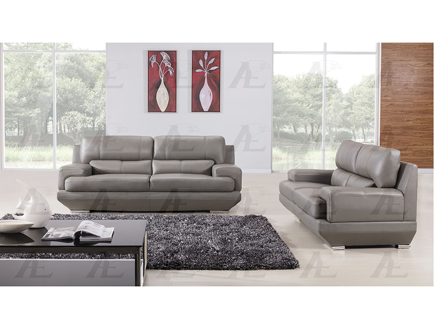 Gray Genuine Leather Sofa Set