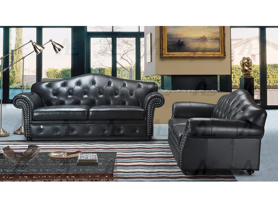 Black Italian Leather Sofa Set