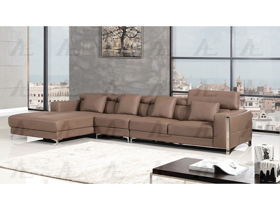 Contemporary 3pcs taupe right chaise sectional sofa set for Brighton taupe 3 piece chaise and sofa set