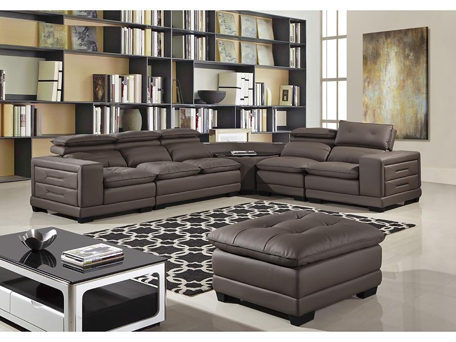 6pcs Taupe Adjustable Headrests Sectional Sofa Set Shop For
