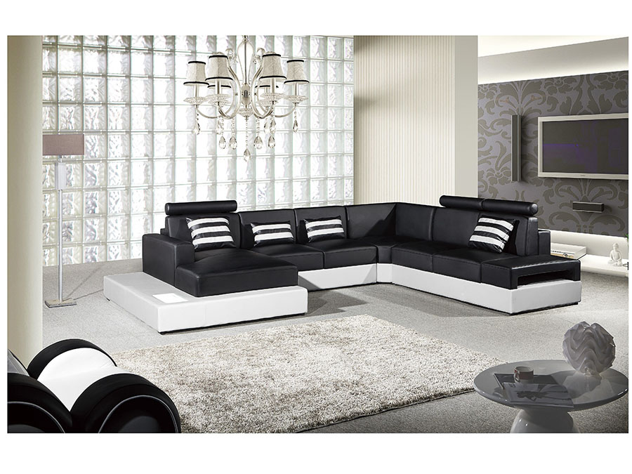 sc 1 st  Muuduu Furniture : black and white leather sectional - Sectionals, Sofas & Couches