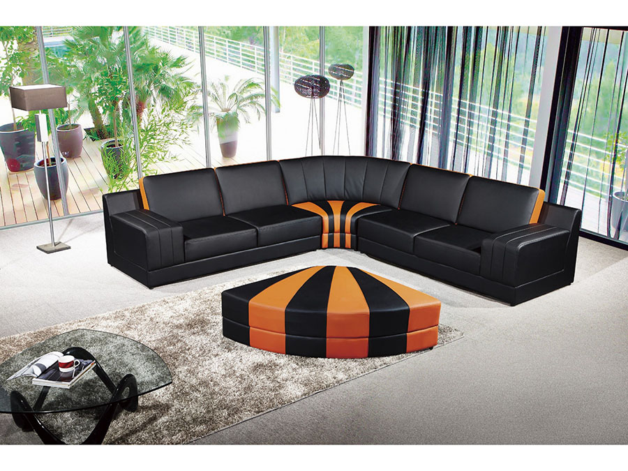 Contemporary 4pcs Black Orange Sectional Sofa