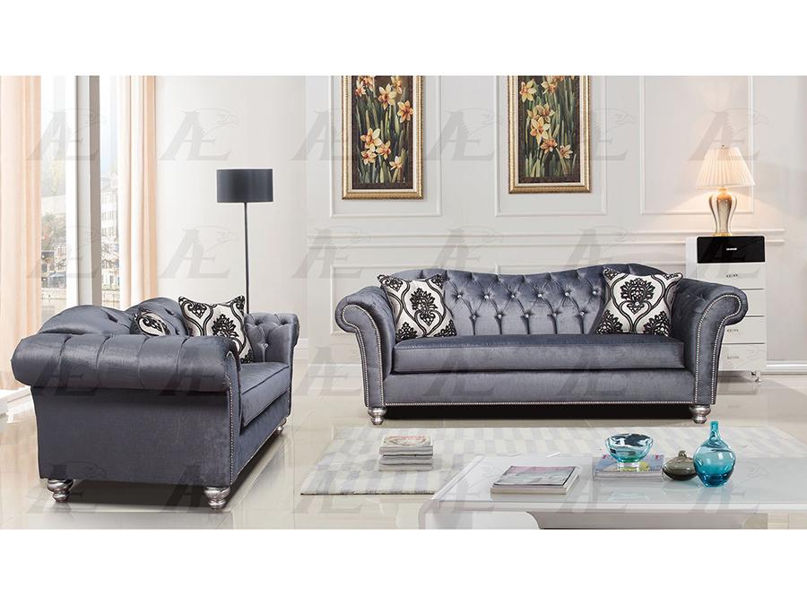 Greyish Blue Fabric Sofa Set