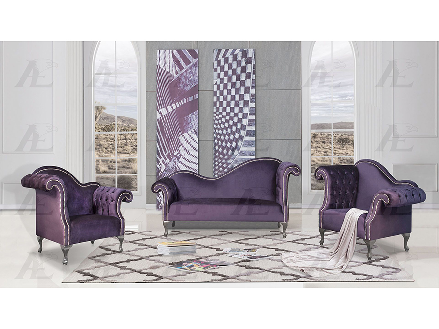 Purple Fabric Sofa Set