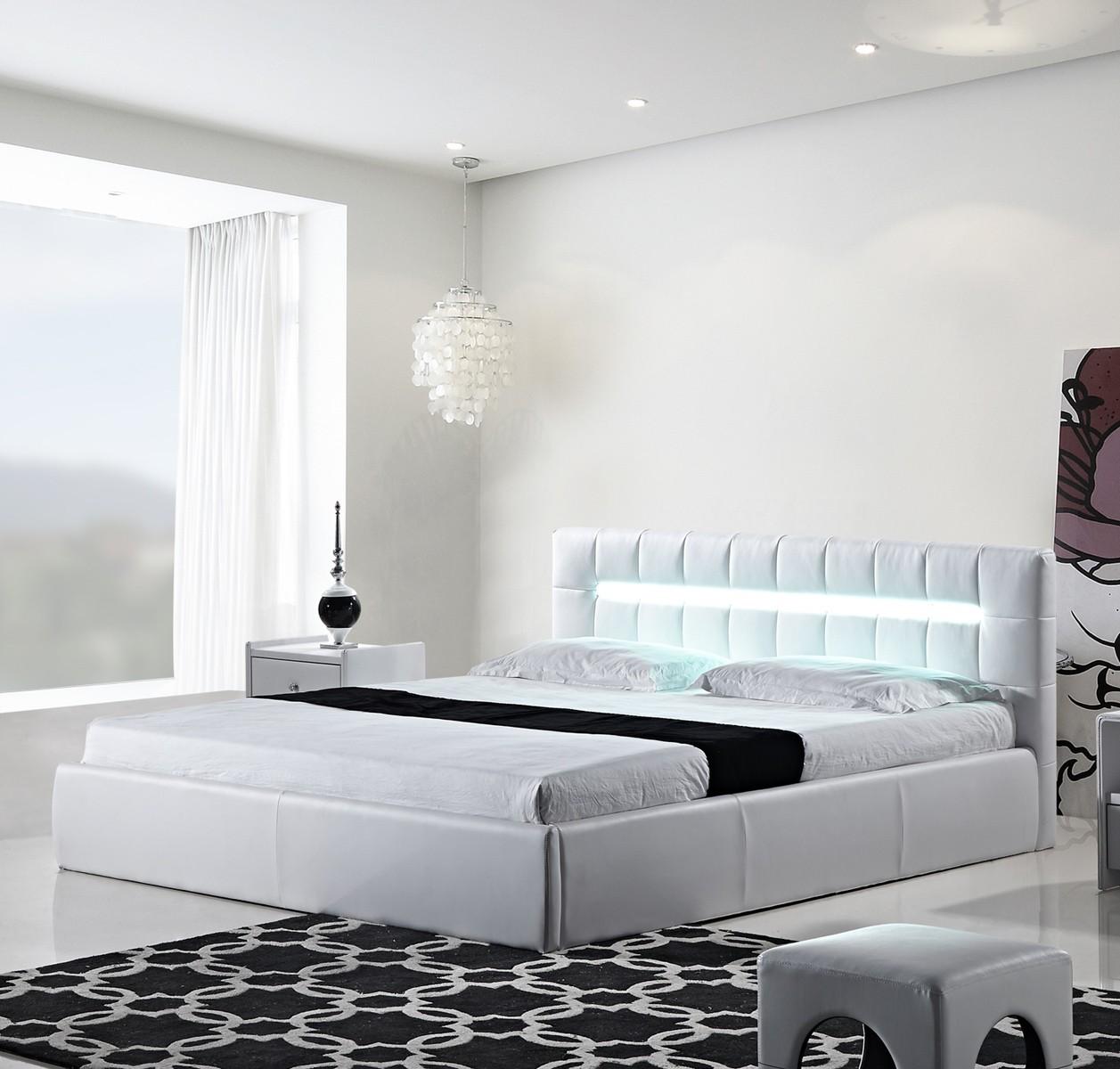 White Cal King Storage Platform Bed