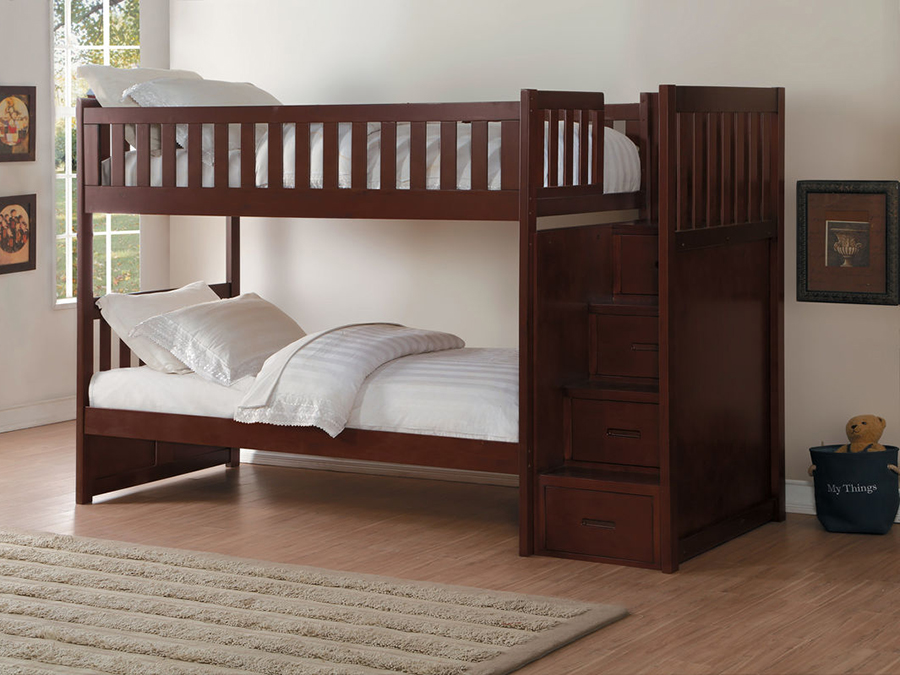 Rowe bunk bed with reversible step storage shop for for Reverse loft bed