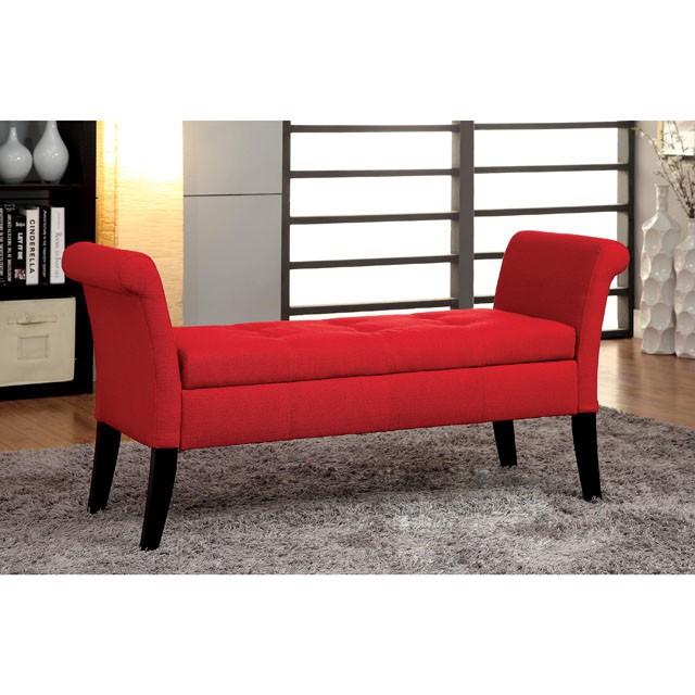 Genial Doheny Red Storage Bench