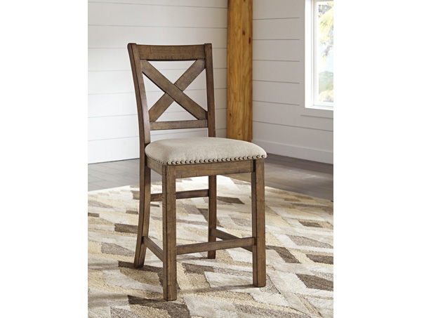 2pcs Moriville Beige Upholstered Barstool Shop For