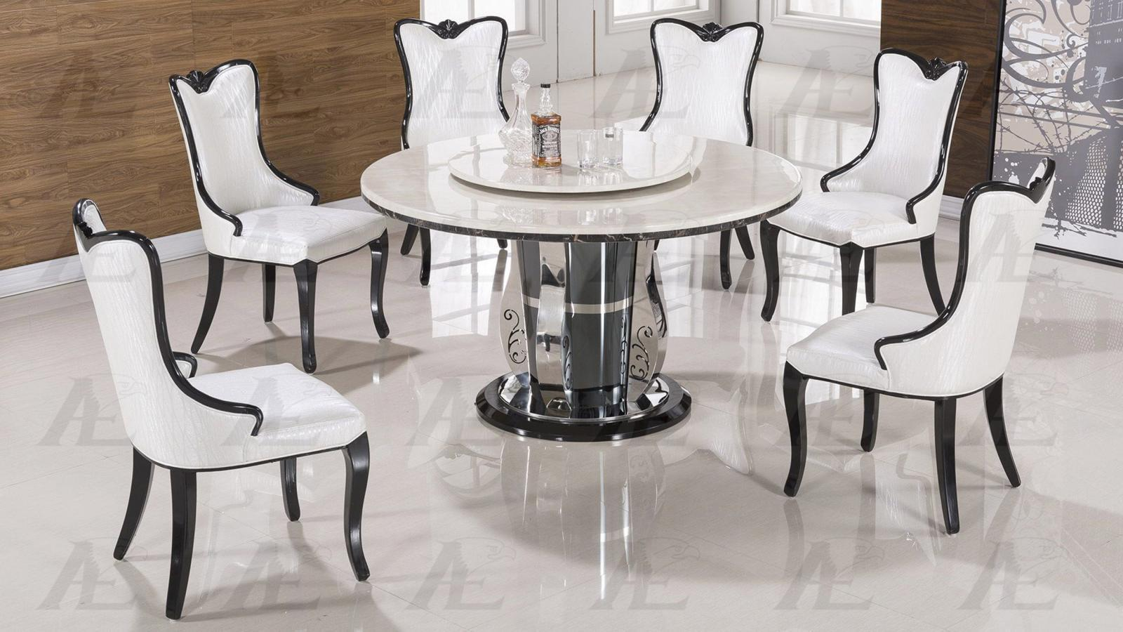 White Marble Top Round Dining Set