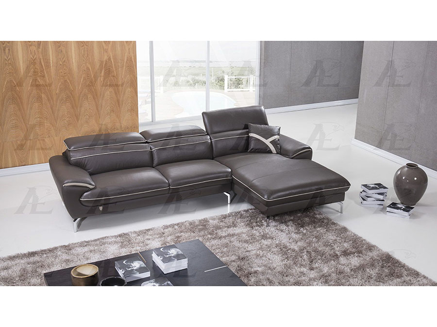 Modern 2Pcs Taupe Italian Leather Left Chaise Sectional Sofa Set