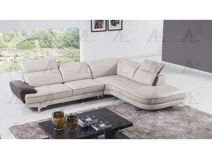 Modern 2pcs Light Gray Italian Leather Left Chaise Sectional Sofa