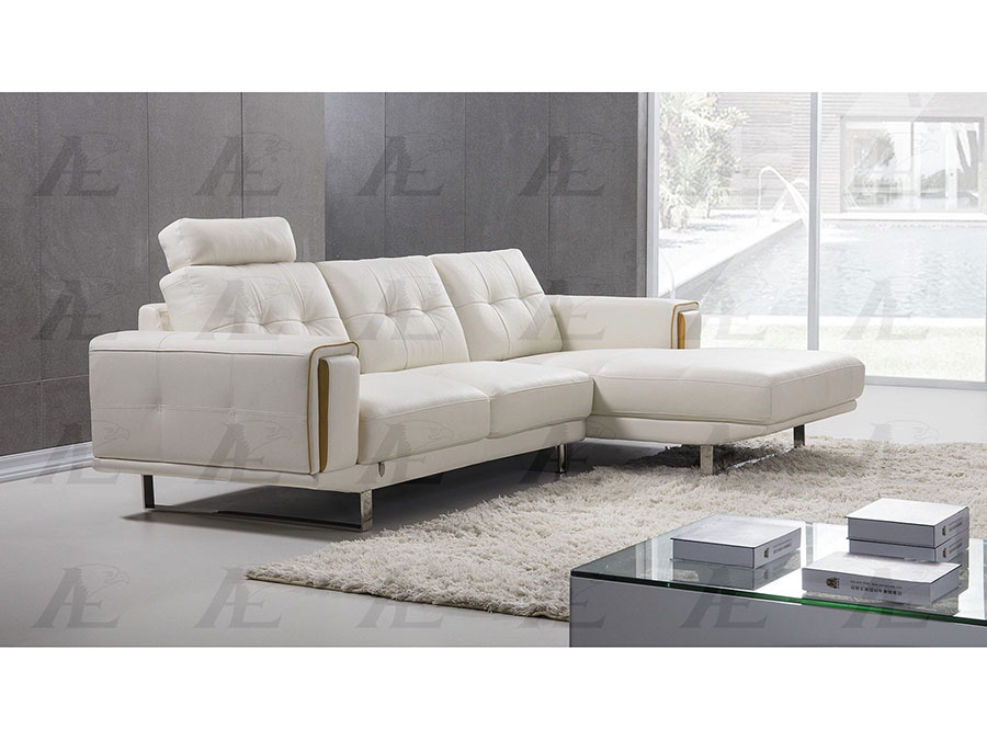 Miraculous Modern 2Pcs White Italian Leather Left Chaise Sectional Sofa Set Andrewgaddart Wooden Chair Designs For Living Room Andrewgaddartcom