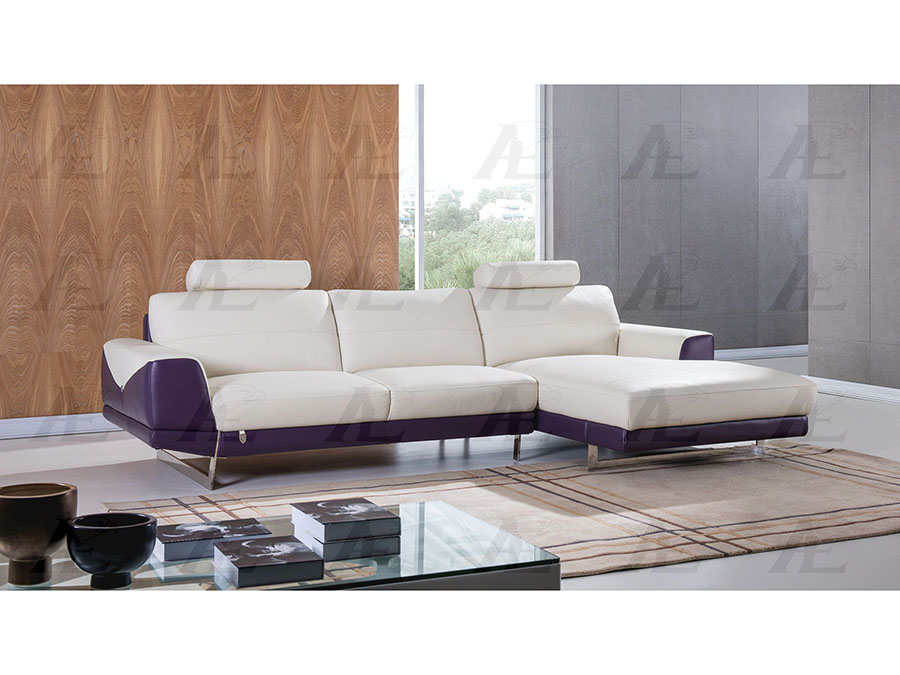 Fantastic Modern 2Pcs White And Purple Italian Leather Left Chaise Sectional Sofa Set Ncnpc Chair Design For Home Ncnpcorg