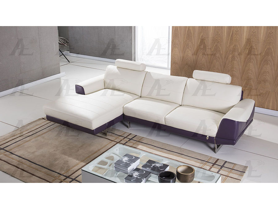 Outstanding Modern 2Pcs White And Purple Italian Leather Right Chaise Sectional Sofa Set Ncnpc Chair Design For Home Ncnpcorg