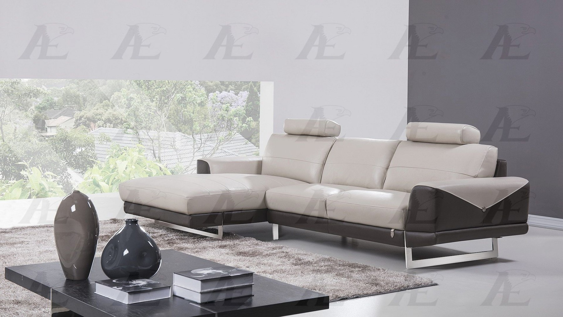 Modern 2Pcs Gray and Taupe Italian Leather Right Chaise Sectional ...