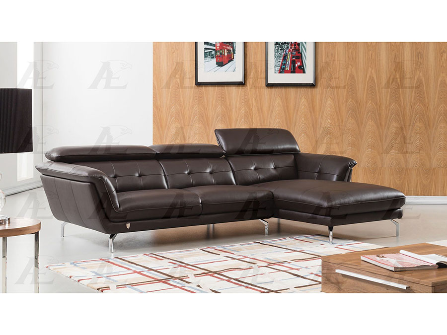 Modern 2pcs Dark Chocolate Leather Left Chaise Sectional Sofa Set