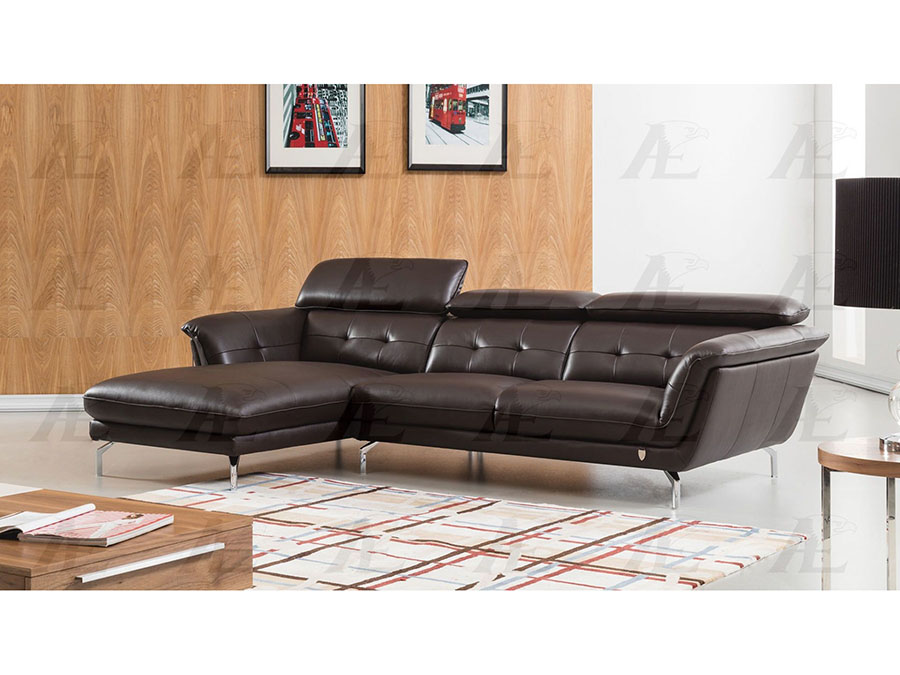 Modern 2pcs Dark Chocolate Leather Right Chaise Sectional Sofa Set