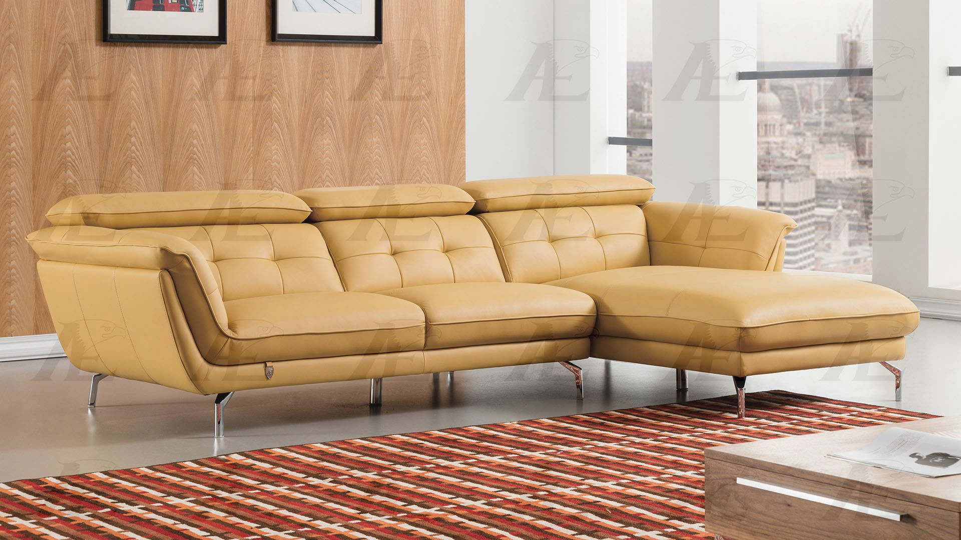 Modern 2Pcs Yellow Leather Match Left Chaise Sectional Sofa Set
