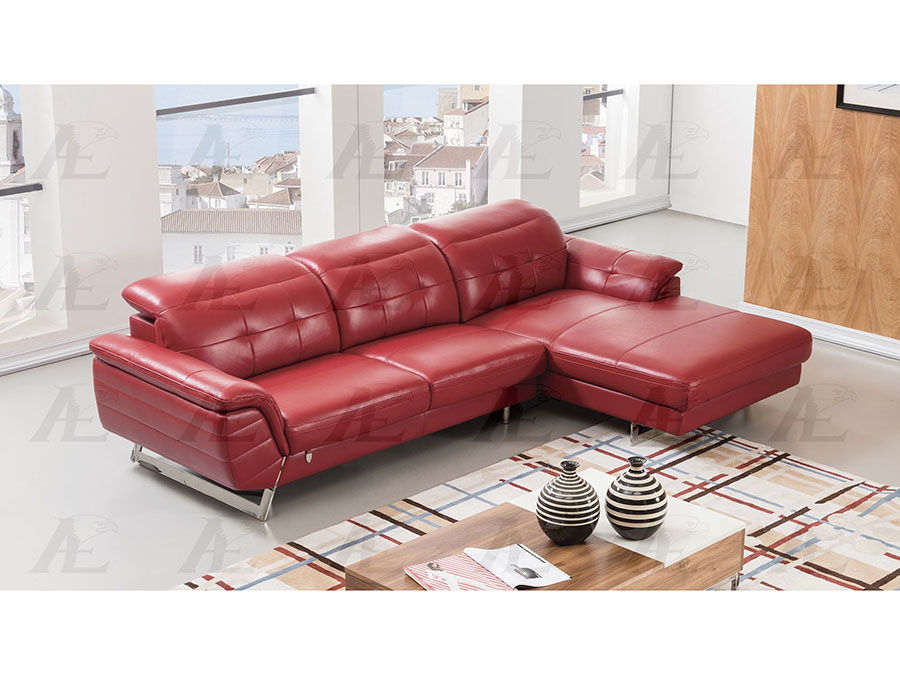 Modern 2Pcs Red Leather Match Left Chaise Sectional Sofa Set - Shop ...
