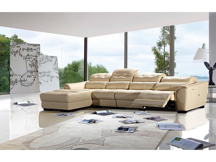 3pcs Cream Electric Recliner Adjule Headrests Sectional Sofa