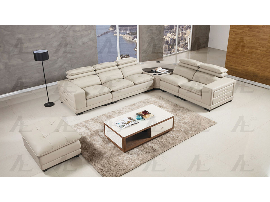 Light Gray Leather Speakers Sectional Sofa Set