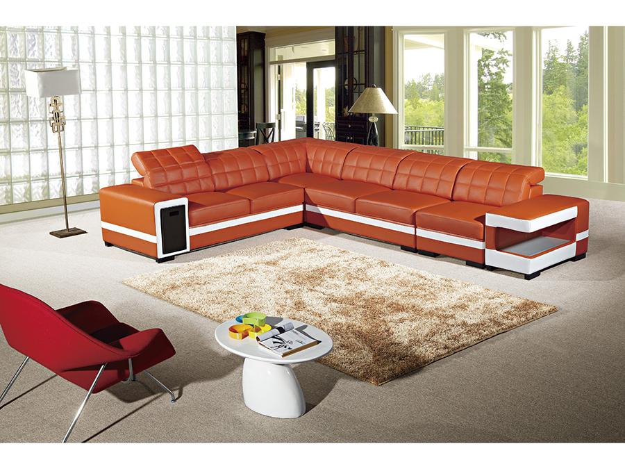 5pcs Orange White Adjustable Headrests Sectional Sofa Shop For