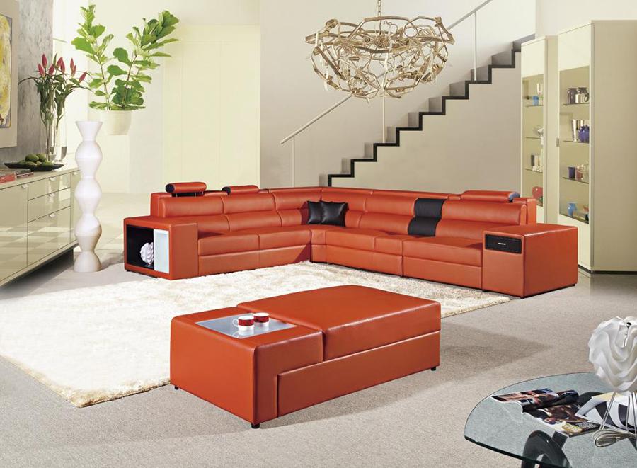 5pcs Black Orange Adjustable Headrests Sectional Sofa