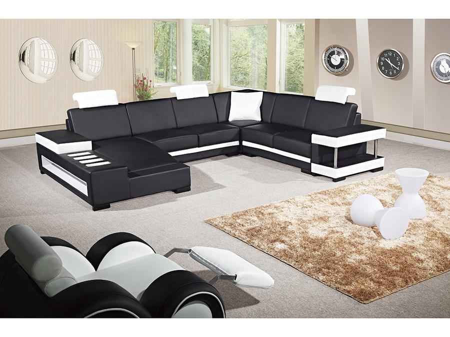 5pcs Black White Adjustable Headrests Sectional Sofa Shop For