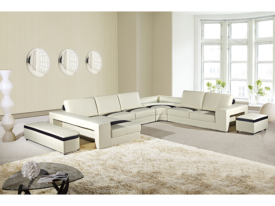 6pcs Cream Dark Brown Sectional Sofa With Light