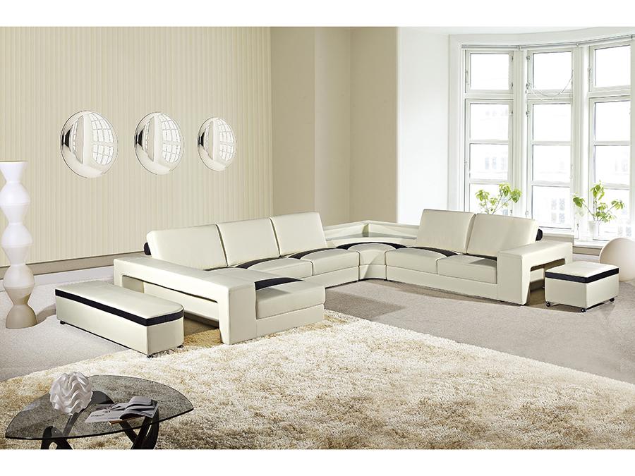 6pcs Cream Dark Brown Sectional Sofa With Light