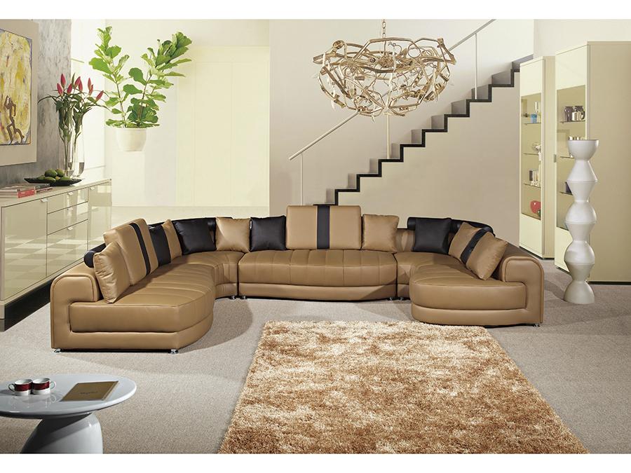 5pcs Camel Dark Brown Sectional Sofa