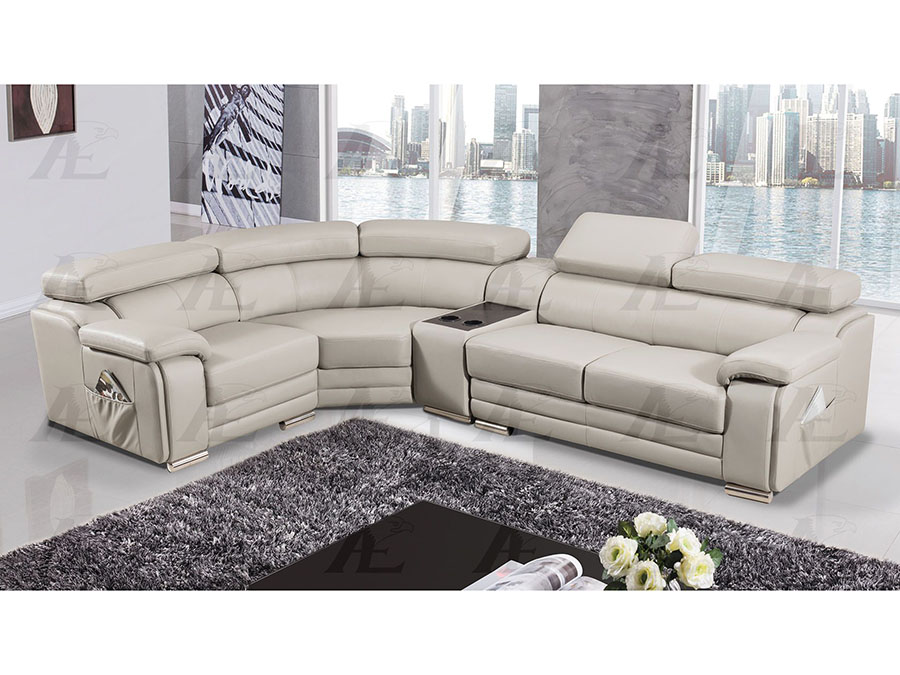 Modern 4Pcs Light Gray Leather Right Chair Sectional Sofa Set